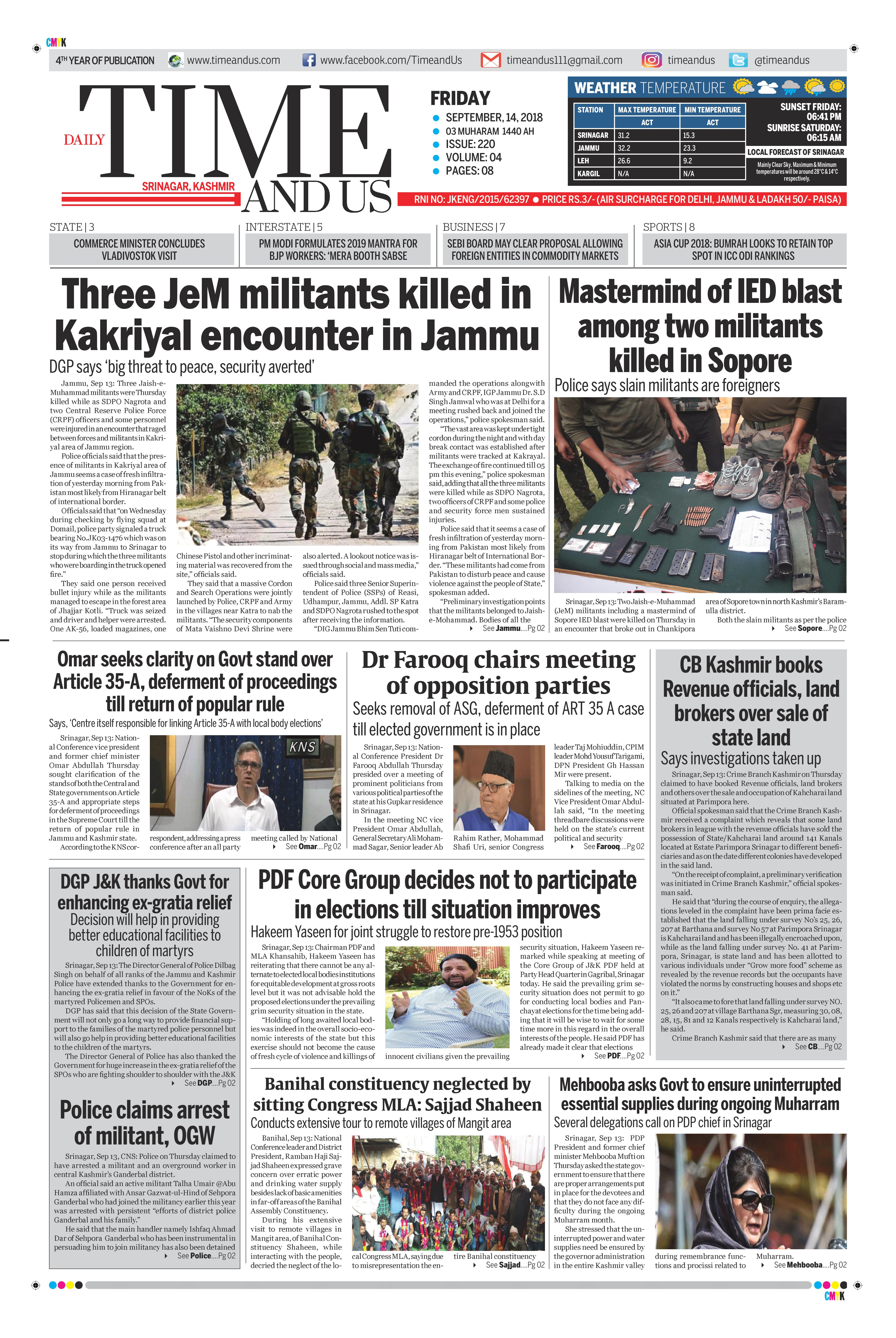 """Visit our Today's Leading Newspaper English Daily """"Time and"""
